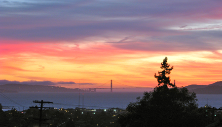 San Francisco bay view with colored sky