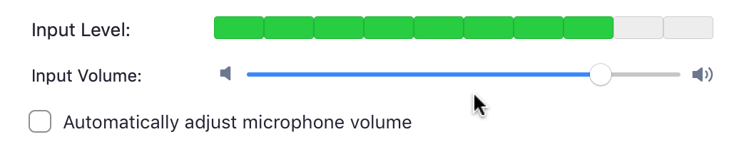 Input Volume Level Meter in Zoom Audio Settings