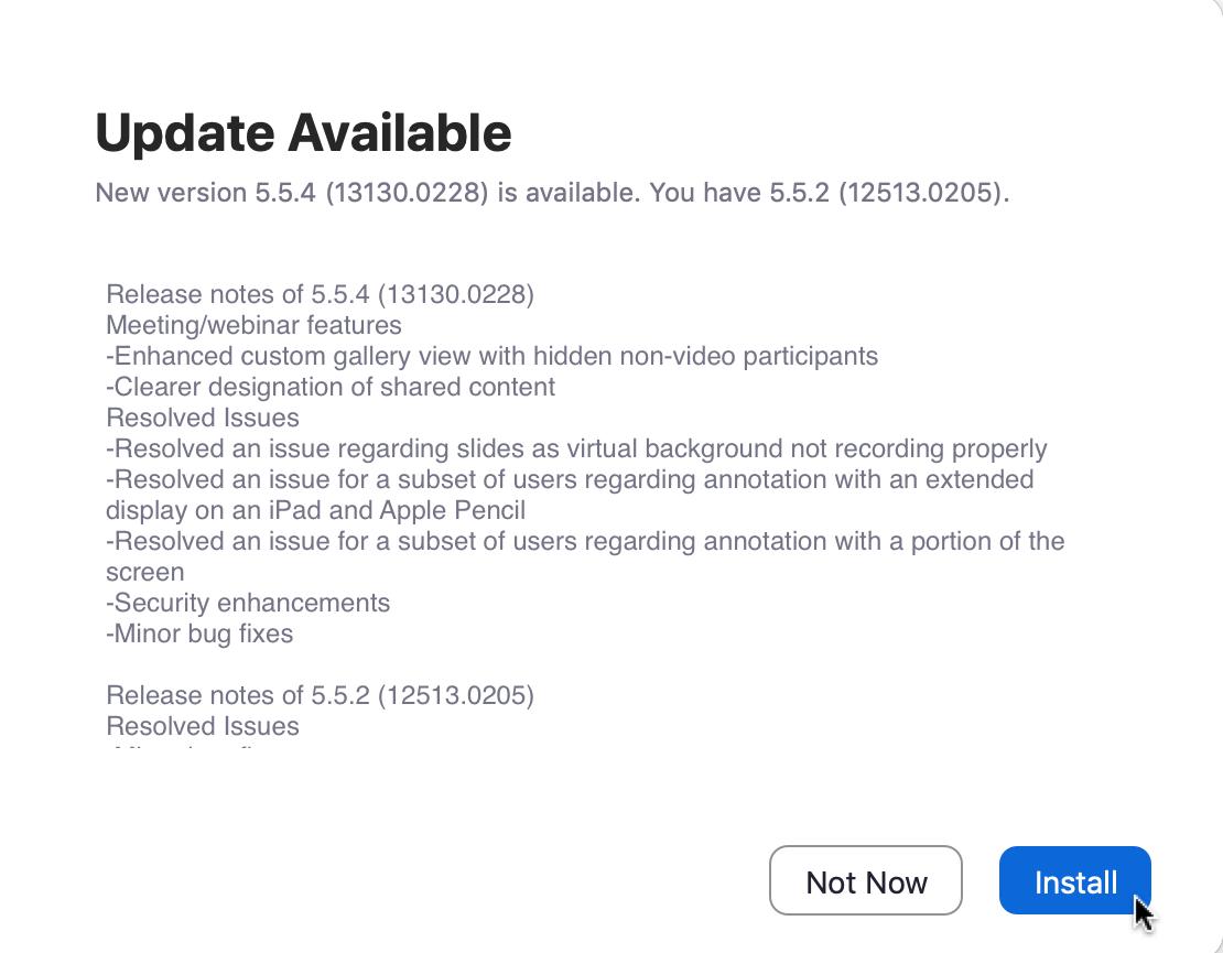 Install Zoom Update